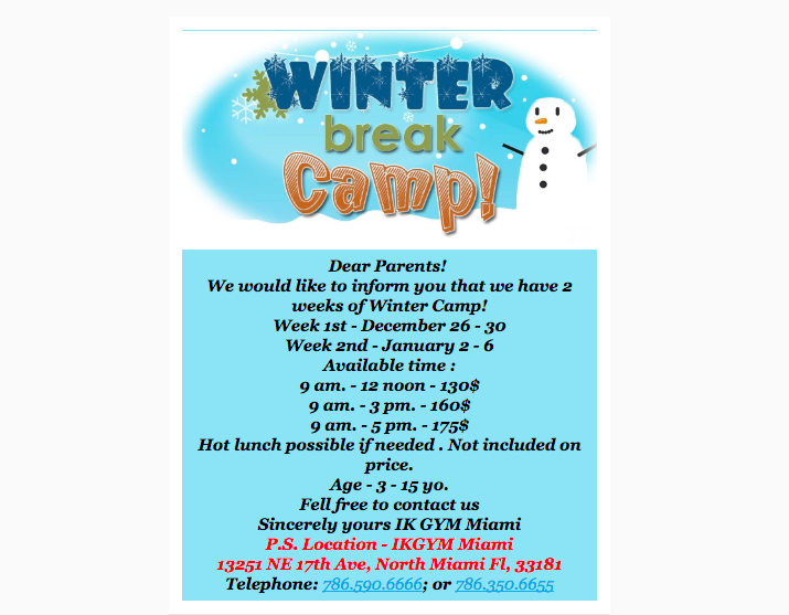 Winter-break camp Miami